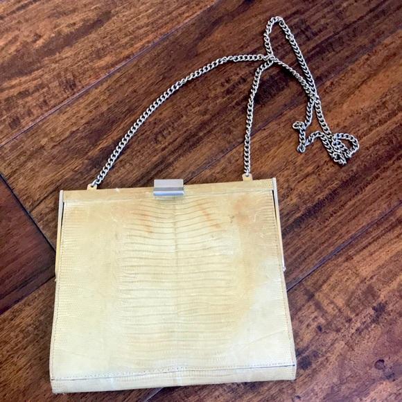 Vintage lizard skin shoulder bag / clutch